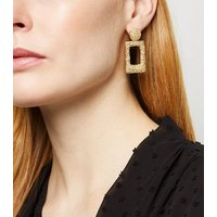 Gold Textured Rectangle Earrings New Look
