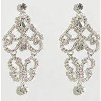 Silver Diamante Chandelier Earrings New Look