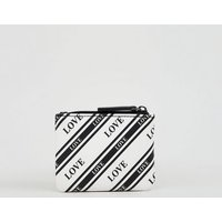 Black Stripe Love Slogan Zip Top Coin Purse New Look