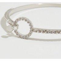 Silver Cubic Zirconia Circle Bangle New Look