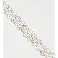 Silver Premium Diamante Lattice Bracelet New Look