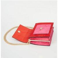 Red Colour Block Chain Shoulder Bag New Look Vegan