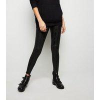 Black Wet Look Snake Print Leggings New Look