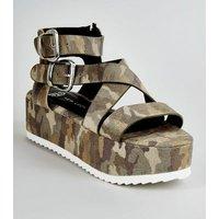 Girls Khaki Camo Strappy Flatform Sandals New Look