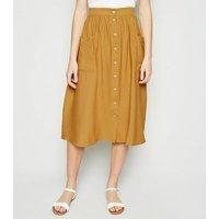 Mustard Button Pocket Front Midi Skirt New Look