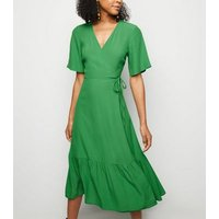 Green Tiered Midi Wrap Dress New Look