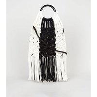 Black and White Macrame Shopper Bag New Look