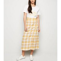 Yellow Check Linen Blend Button Side Midi Skirt New Look