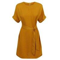 Mustard Herringbone Tie Waist Tunic Dress New Look