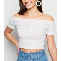 Off White Shirred Button Front Bardot Top New Look