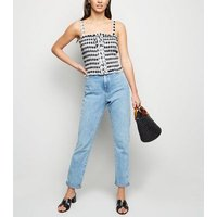 Black Check Lace Up Shirred Cami New Look