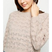 Pale Pink Pointelle Cropped Jumper New Look