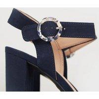 Navy Suedette Ring Buckle Block Heels New Look