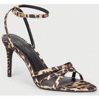 Stone Leopard Print Satin Strappy Stiletto Heels New Look
