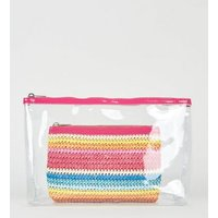 2 Pack Rainbow Woven and Clear Make-Up Bags New Look