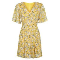 Blue Vanilla Yellow Floral Wrap Dress New Look