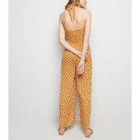 Yellow Floral Wide Leg Halter Jumpsuit New Look