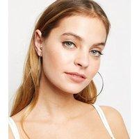 Silver Skinny Oversized Hoop Earrings New Look