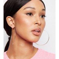 Gold Skinny Oversized Hoop Earrings New Look