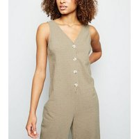 Green Grid Check Button Front Jumpsuit New Look