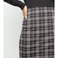 Petite Black Check Mini Tube Skirt New Look