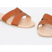 Tan Leather-Look Interlocked Strap Sliders New Look Vegan