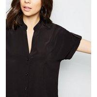 black-vneck-short-sleeve-shirt-new-look