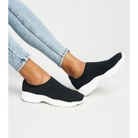 Black Knit Sock Trainers New Look