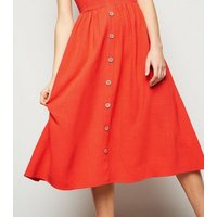 Red Linen Look Button Front Midi Dress New Look