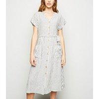 Off White Stripe Linen Blend Midi Dress New Look