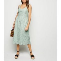 Mint Green Broderie Button Front Midi Dress New Look