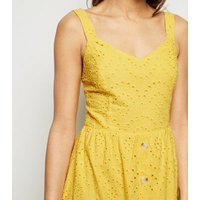 Mustard Broderie Button Front Midi Dress New Look