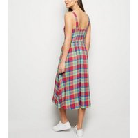 Multicoloured Check Linen Blend Midi Dress New Look