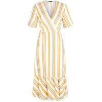 Off White Stripe Linen Blend Tiered Wrap Midi Dress New Look