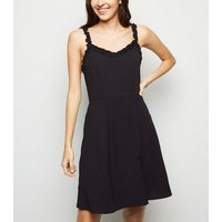 Black Frill Trim Mini Dress New Look