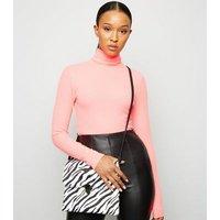 Black Faux Zebra Messenger Bag New Look