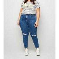 Curves White Stripe New York Slogan T-Shirt New Look