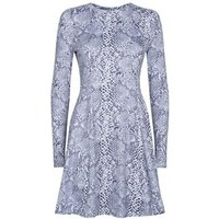 Lilac Snake Print Soft Touch Skater Dress New Look