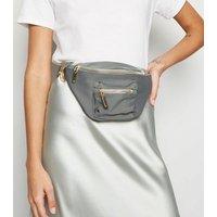 Grey High Shine Utility Zip Bum Bag New Look