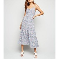 Lilac Floral Lace Up Front Midaxi Dress New Look