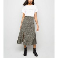 Petite Light Grey Leopard Print  Midi Skirt New Look