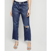 Petite Blue Ripped Straight Leg Crop Jeans New Look