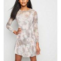 Light Grey Tie Dye Mesh Swing Dress New Look