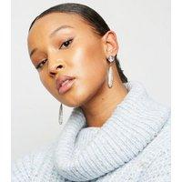 RE:BORN Silver Diamanté Pave Drop Earrings New Look