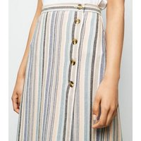 Petite Pink Stripe Linen Look Button Side Midi Skirt New Look