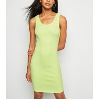 Mint Green Ribbed Bodycon Dress New Look