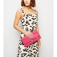 Pink Neon Patent Clutch Bag New Look