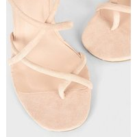 Nude Suedette Toe Loop Strappy Stilettos New Look