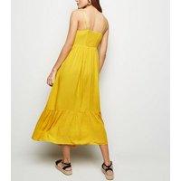 Yellow Crinkle Tiered Hem Midaxi Dress New Look