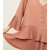 Cameo Rose Coral Pleated Frill Hem Tunic Top New Look